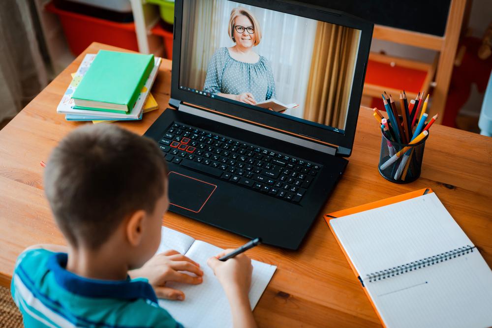 child-doing-online-school